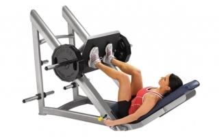 Упражнение жим ногами на тренажере