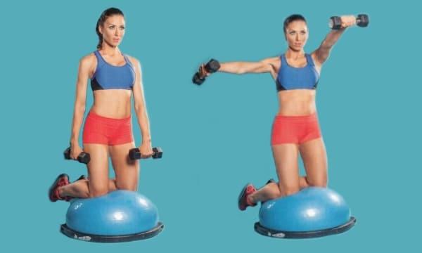 Упражнение подъемы гантелей