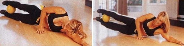 Боковые скручивания с мячом