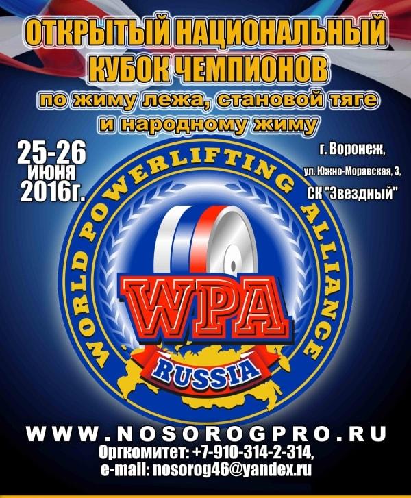 Открытый Национальный Кубок Чемпионов по жиму лежа WPA/AWPA Воронеж
