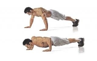 упражнение отжимания от пола руки на ширине плеч